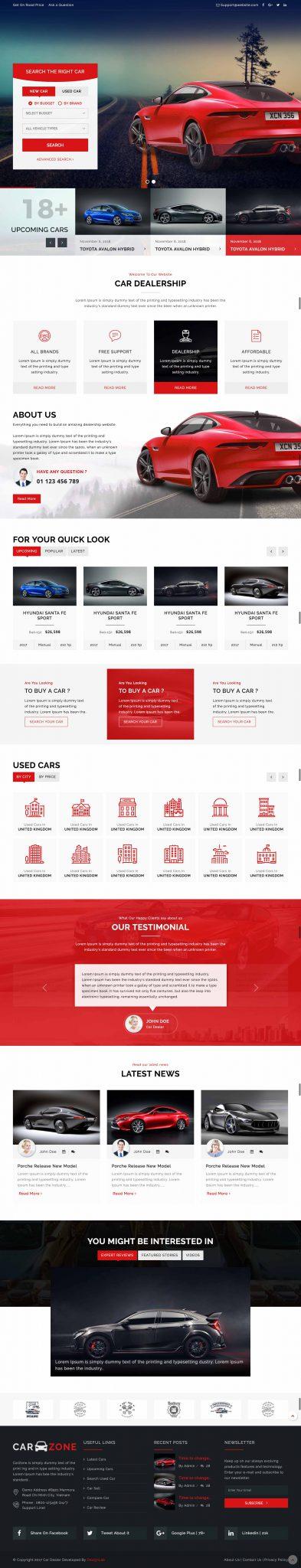 Mẫu thiết kế website Bán Ô tô tại Thiên Minh