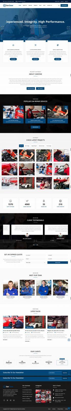 Thiết kế mẫu website sửa xe hơi tại Thiên Minh