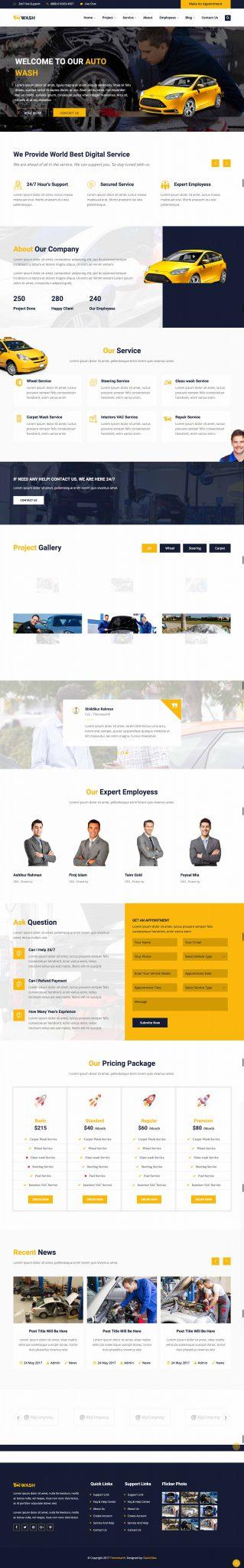 Mẫu thiết kế giao diện Website rửa xe ô tô