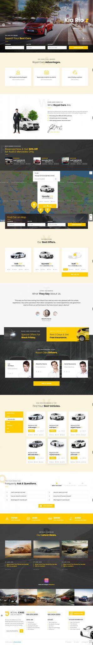 Mẫu thiết kế giao diện website dịch vụ cho thuê xe du lịch