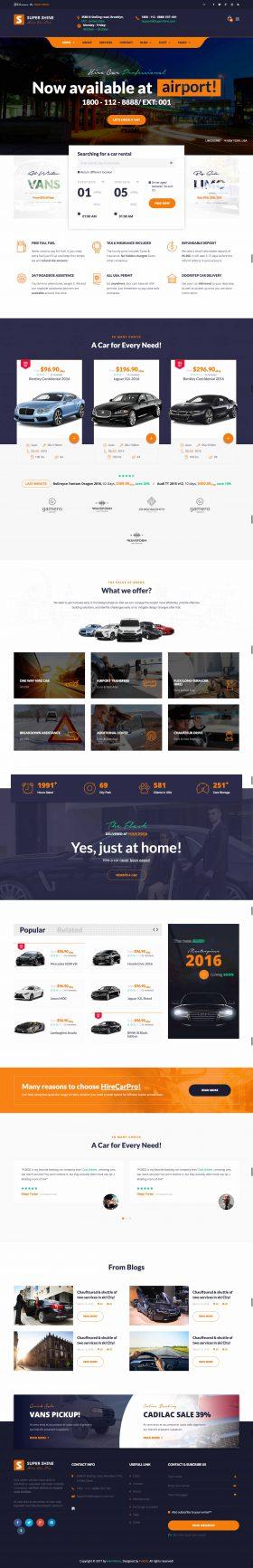 Mẫu thiết kế dịch vụ website cho thuê xe du lịch