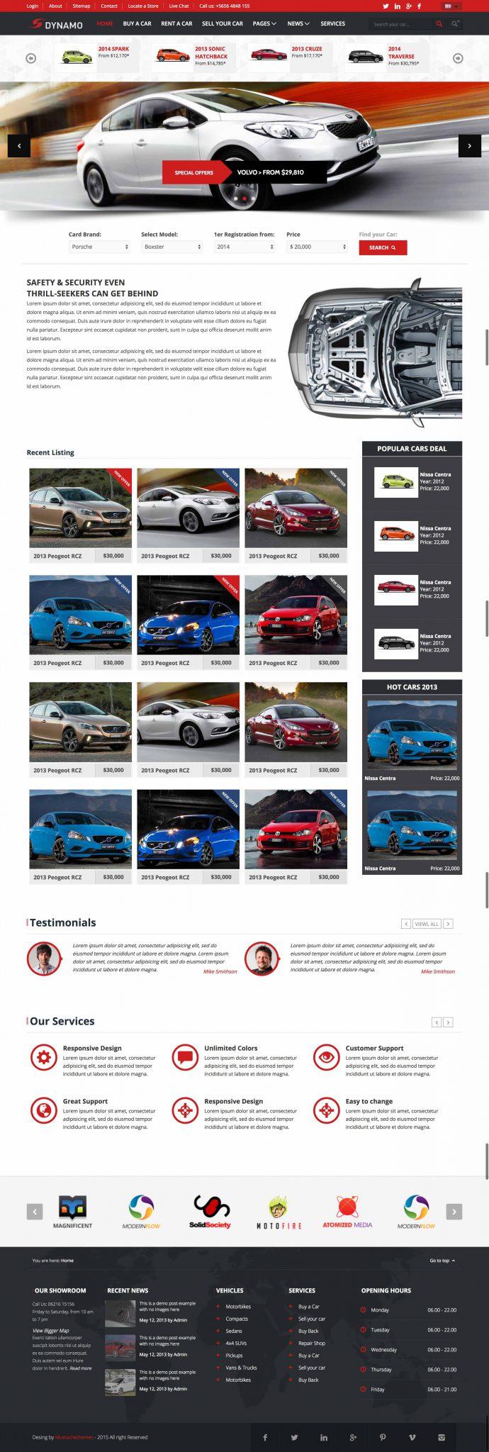 Mẫu giao diện website dịch vụ thuê xe du lịch