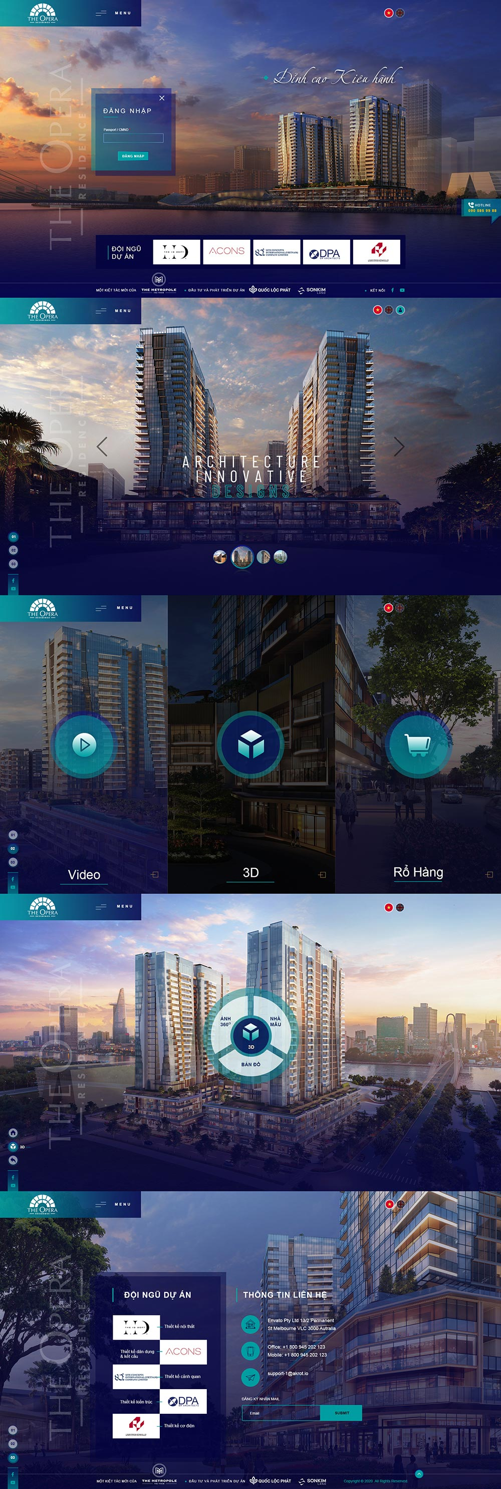 Giao diện landing page Opera Residence