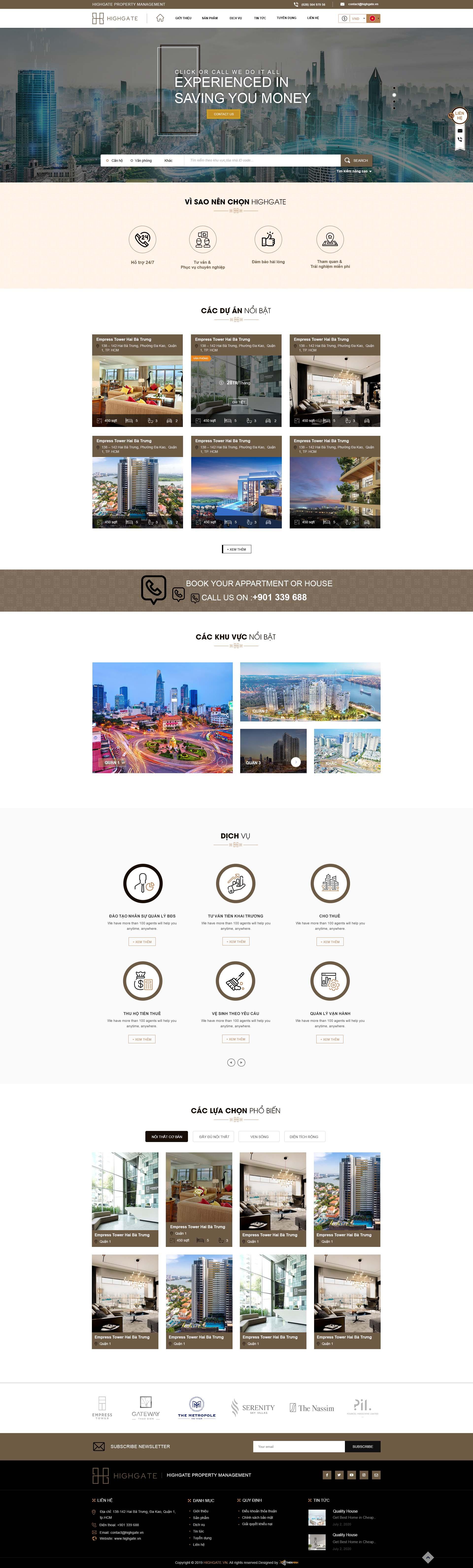 Mẫu thiết kế giao diện website Bất động sản Highgate