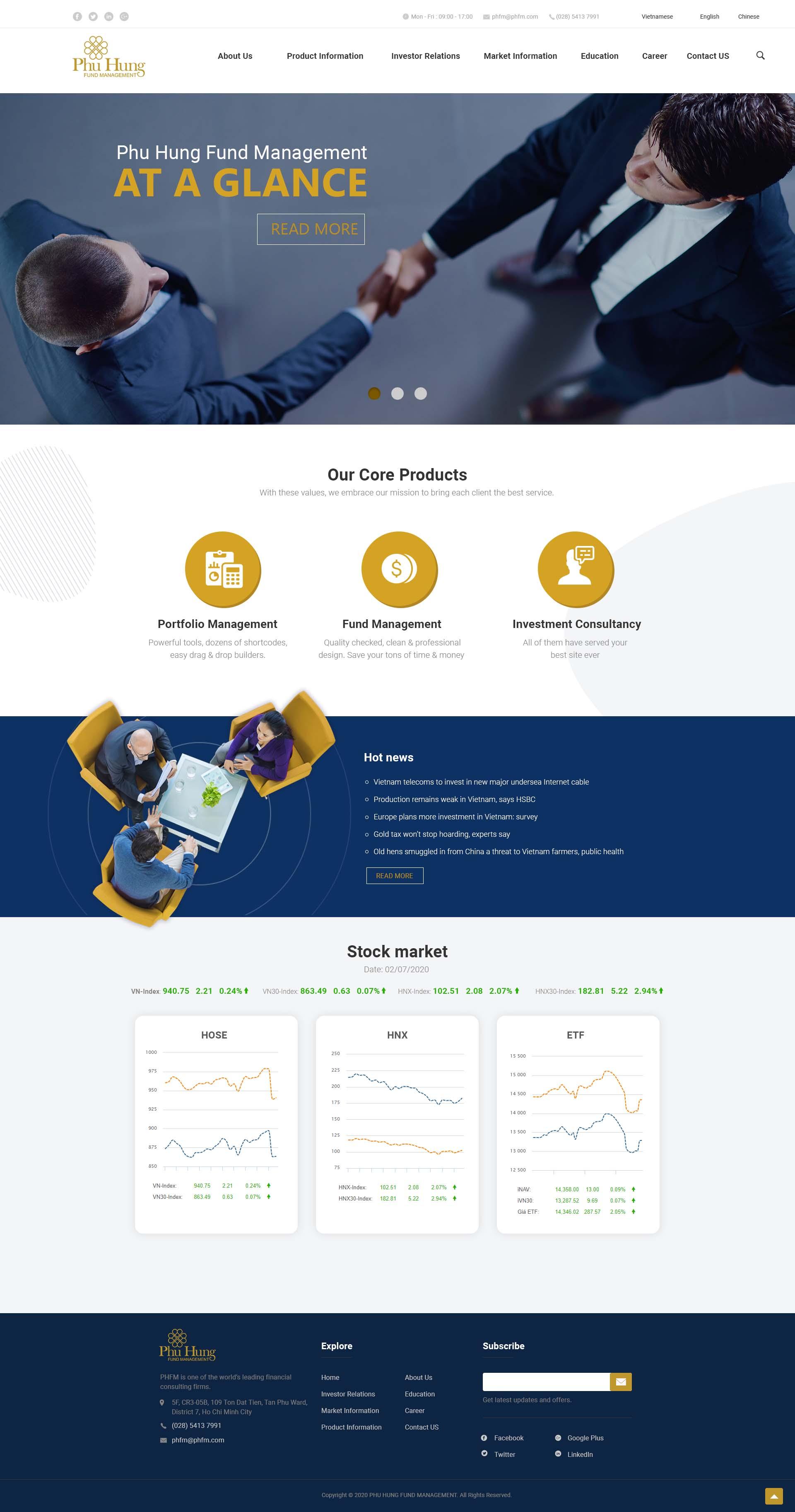Mẫu giao diện website Quản lý Quỹ Phú Hưng