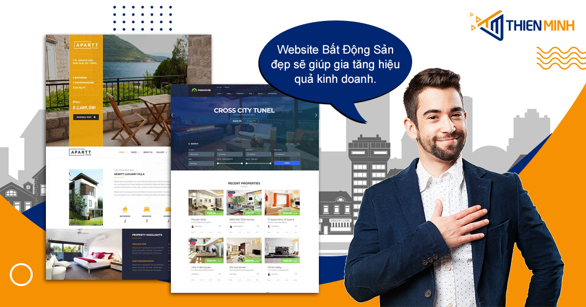 Các ngành đầu tư, kinh doanh ngày nay không thế thiếu website. Một website bất động sản được thiết kế đẹp, chuyên nghiệp sẽ giúp đạt hiệu quả kinh doanh, doanh số và ngành bất động sản cũng không là ngoại lệ