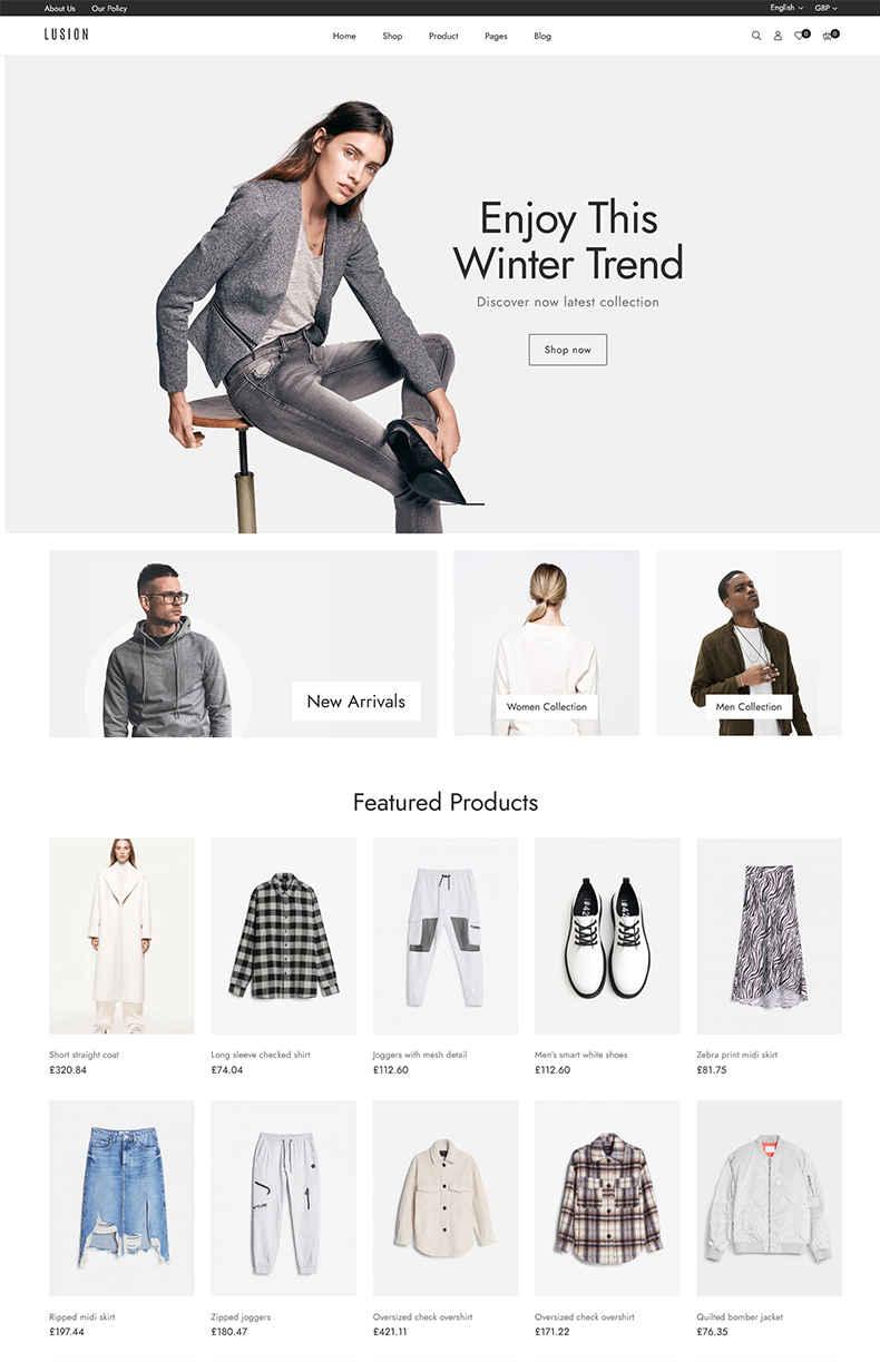 Giao diện web thời trang LUSION