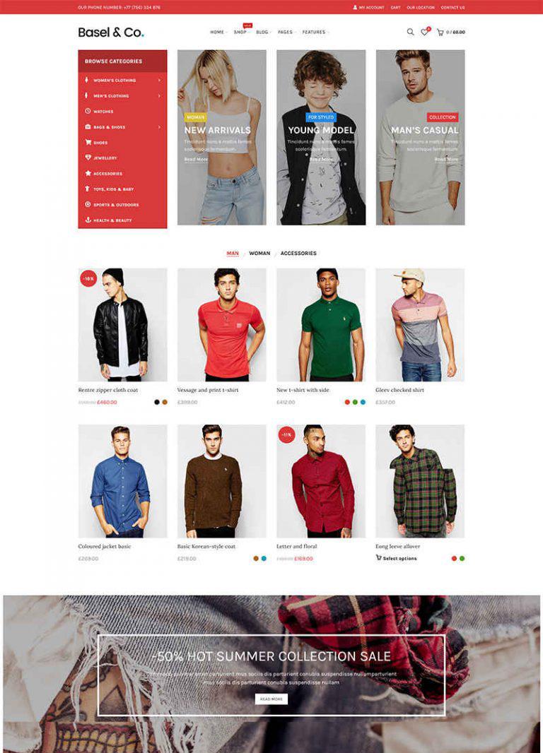 Giao diện web thời trang Basel & CO.