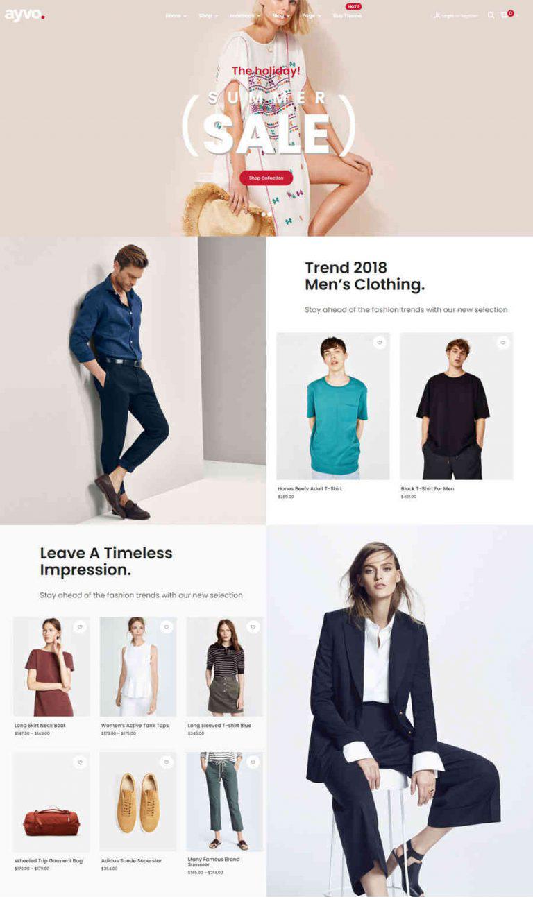 Giao diện web thời trang ayvo.