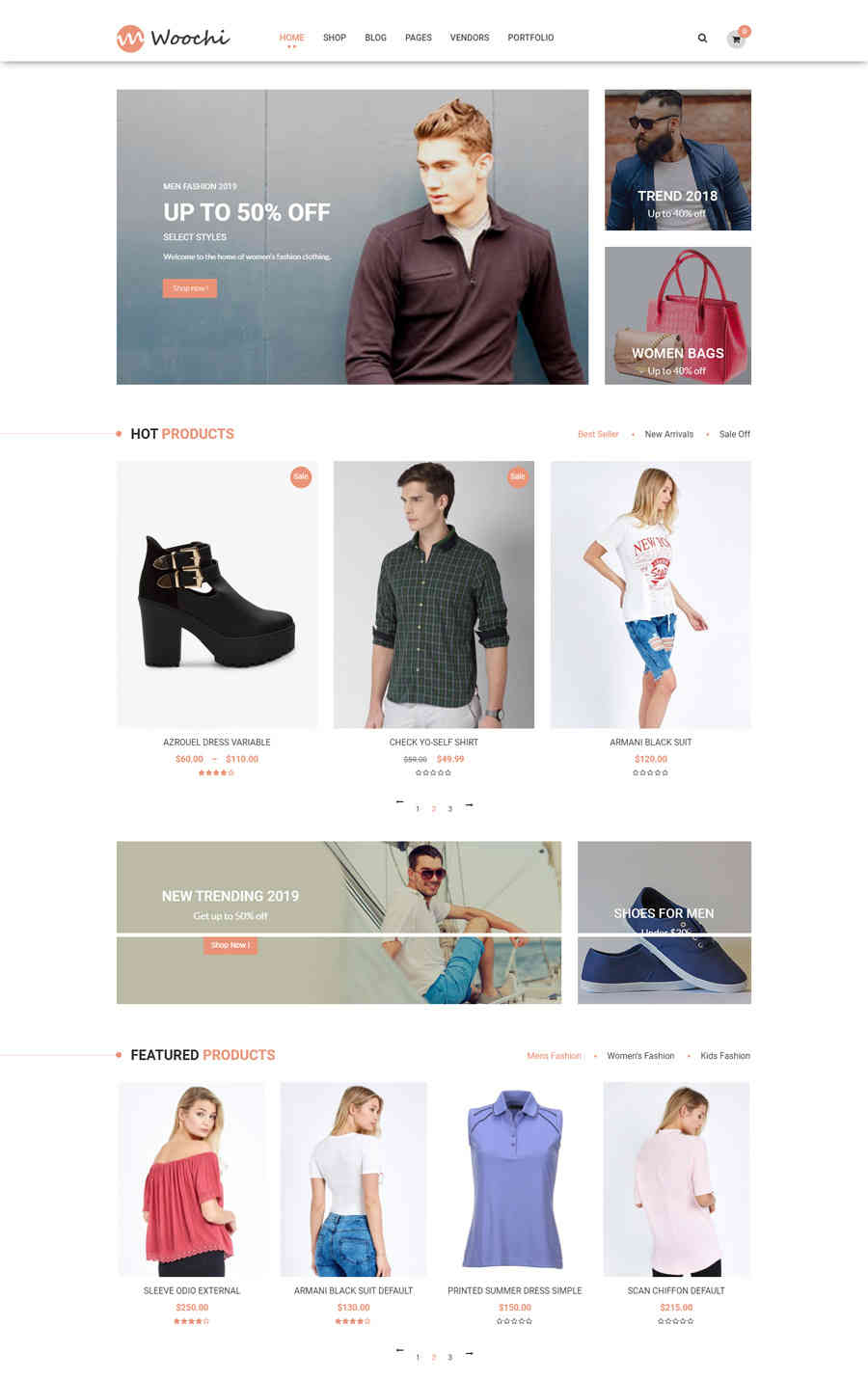 Giao diện web thời trang woochi