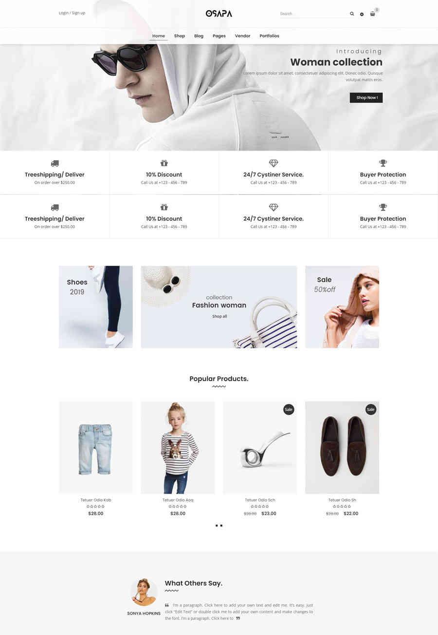 Giao diện web thời trang OSAPA