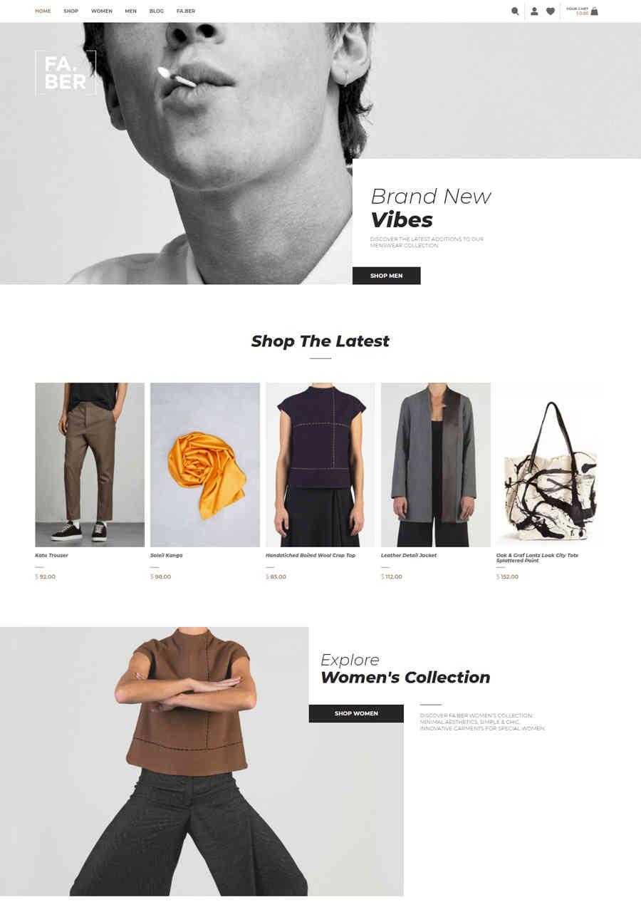 Giao diện web thời trang FABER.