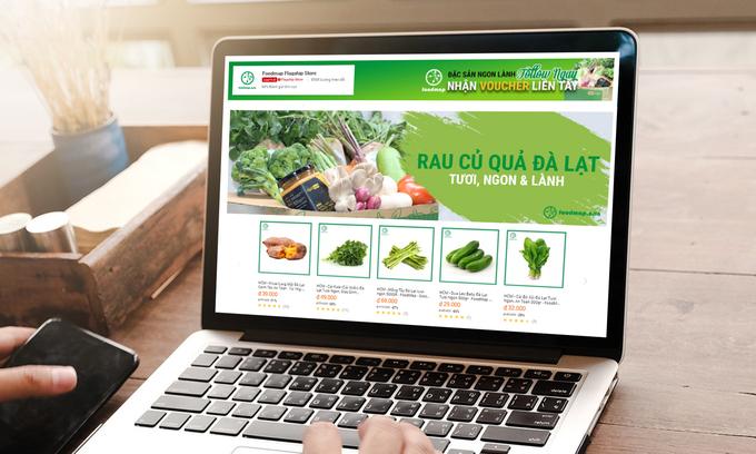 Giao diện gian hàng Foodmap trên sàn thương mại điện tử Lazada với đa dạng cái lại rau, củ, quả tươi, giao tận nơi trong 2h-4h. Ảnh:Lazada Việt Nam.
