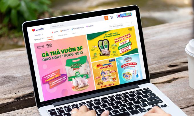 Ngoài đa dạng sản phẩm, gian hàng Gà Ngon 3F trên Lazada còn áp dụng nhiều ưu đãi giúp việc đi chợ online tiện lợi, tiết kiệm hơn. Ảnh:Lazada Việt Nam.