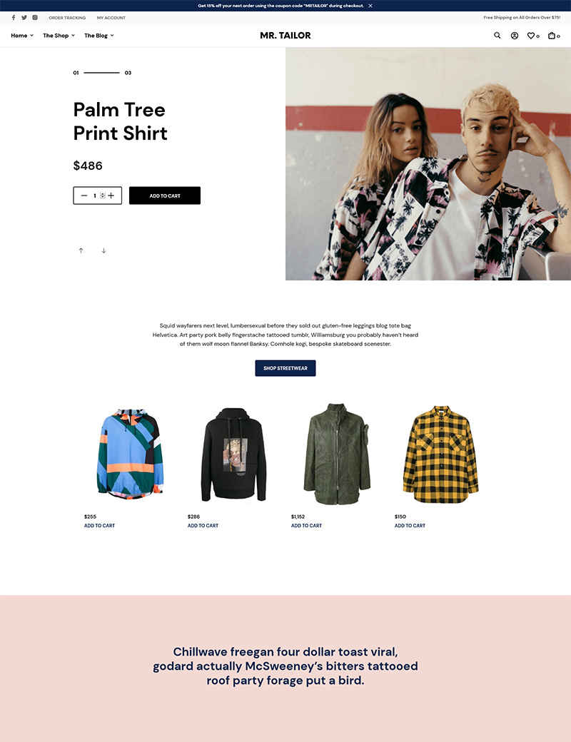 Giao diện website thời trang MR.TAILOR