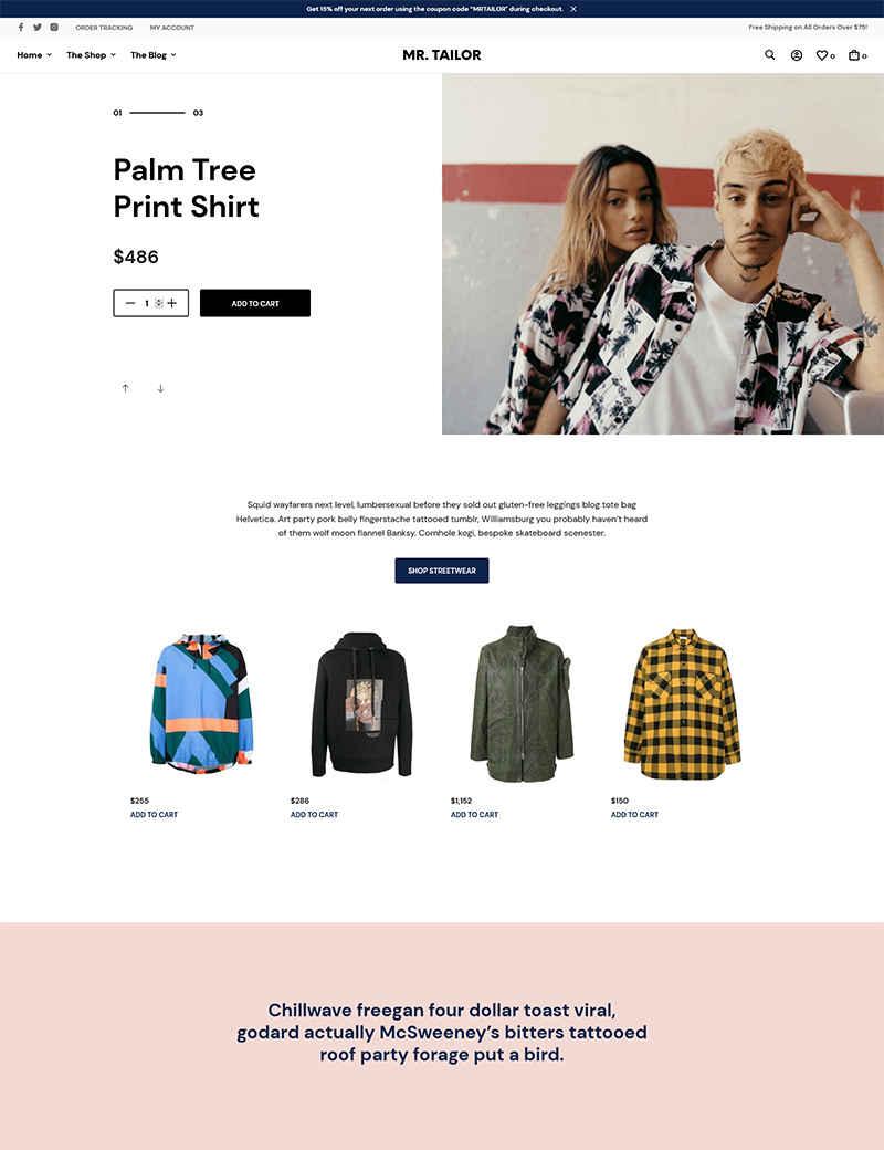 Giao diện web thời trang MR.TAILOR