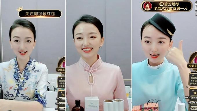 Meng Hu, người dẫn một chương trình mua sắm trực tiếp trên Taobao Live. Cô đã nghỉ việc trong năm 2020 để theo đuổi ước mơ trở thành một ngôi sao trực tuyến. Ảnh:CNN.